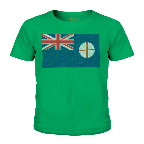 (Irish Green, 9-10 Years) Candymix - New South Wales Scribble Flag - Unisex Kid's T-Shirt