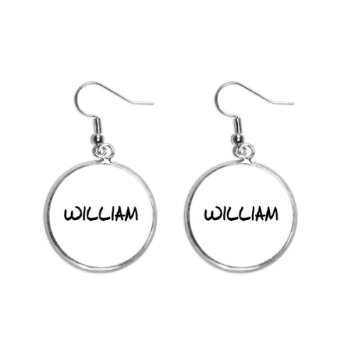 Special Handwriting English Name WILLIAM Ear Dangle Silver Drop Earring Jewelry Woman
