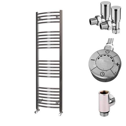 HB Essentials Zeno Chrome Curved Ladder Heated Towel Rail 1400mm x 400mm Dual Fuel - Thermostatic