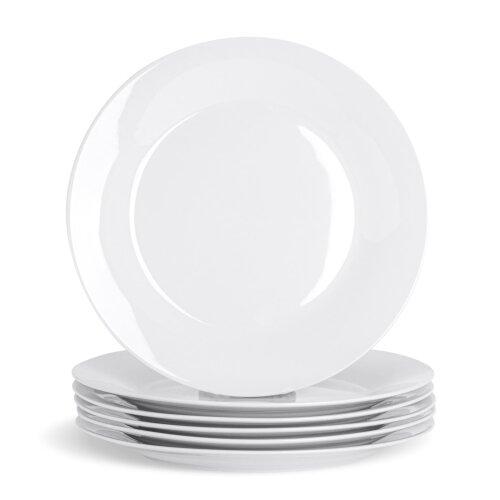 White Dinner Plates Wide Rimmed Plate. Porcelain Tableware Crockery 267mm - x6