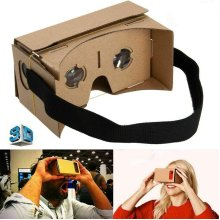 Google Cardboard VR Virtual Reality 3D Glasses w/Head Strap and Optical Lens, Compatible with iPhone, Samsung, Google Pixel, LG, Nokia, Xperia etc
