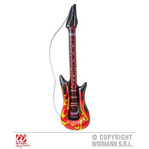 Inflatable Rockstar Guitar With Flames - Adult Fancy Dress Accessory - Deco -  inflatable deco mega selection animals halloween party musik rockstar