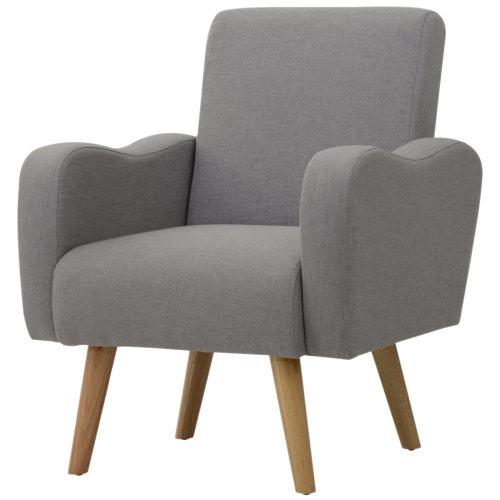 HOMCOM Grey Nordic Solid Wood Armchair   Sofa Chair