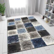 Modern Rug Black Grey Blue Checkered Pattern Woven Short Pile Carpet Mat for Living Room & Bedroom