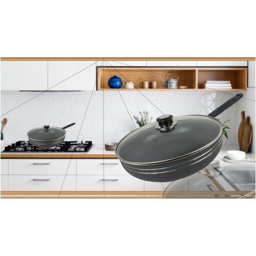 (Light Grey) Non-Stick Die-Cast Wok with Long Handle & Lid-28cm