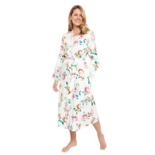 Cyberjammies 1346 Women's Nora Rose Lydia Cream Off-White Floral Print Cotton Long Robe