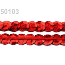 20m Hol Red Strawberry Sequin Strip Ø6mm Cupped, Strips, Sequins, Glitters And, Haberdashery