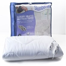 Slumberland Luxury Heated Mattress Topper Double with 2 Controls, 100% Polyester, White