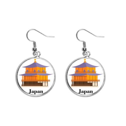 Traditional Japanese Culture Temple Ear Dangle Silver Drop Earring Jewelry Woman