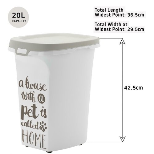Trendy Story Dog Food Storage Container - White Large 20L