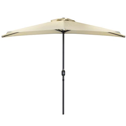 Charles Bentley 2.7m Beige Metal Garden Half Balcony Parasol Umbrella With Crank Function