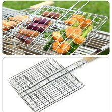 BBQ Long Handle Grill Basket Barbecue Rack Meat Burger Fish Stand