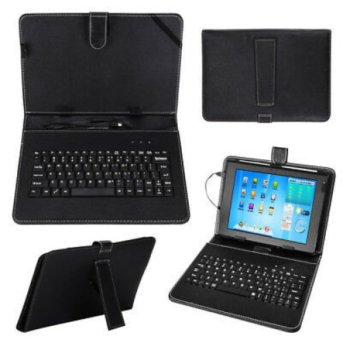 """Black Leather Case+USB Keyboard With Stand for 10""""/10.1"""" inch Android Tablet UK"""