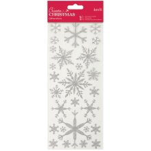 Papermania Create Christmas Glitterations Stickers-Silver Snowflakes