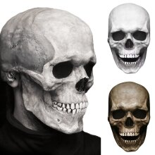 Creepy Halloween Full Head Skull Mask with Moving Jaw Entire Head Latex Helmet