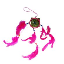 Pink Dream Catcher 5cm with Beads And Feathers Hanging