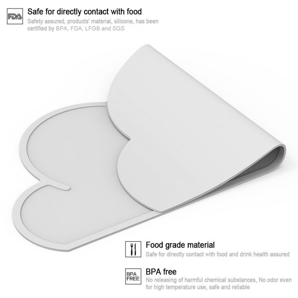 2 Pack Silicone Placemat for Kids Cloud Shape Baby Feeding Mat Non Slip Table Place Mat Waterproof Heat Proof Stain Resistant Washable Toddler Tablemat Portable Travel Tableware 48/×27cm