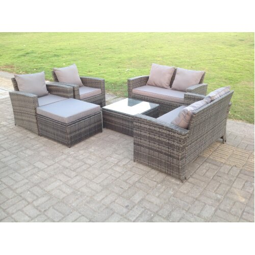 7 Seater Rattan Sofa Set Chair Coffee Table Stool Patio Furniture Grey