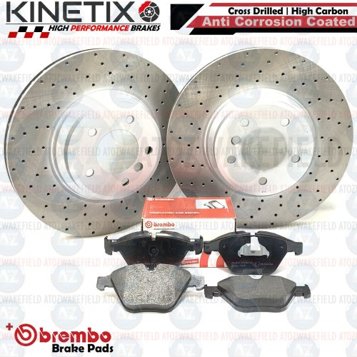 FOR BMW 335d E90 FRONT DRILLED KINETIX PERFORMANCE BRAKE DISCS BREMBO PADS 348mm