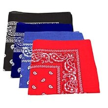 Four Pack Paisley Design Bandanas black purple blue red. fast post