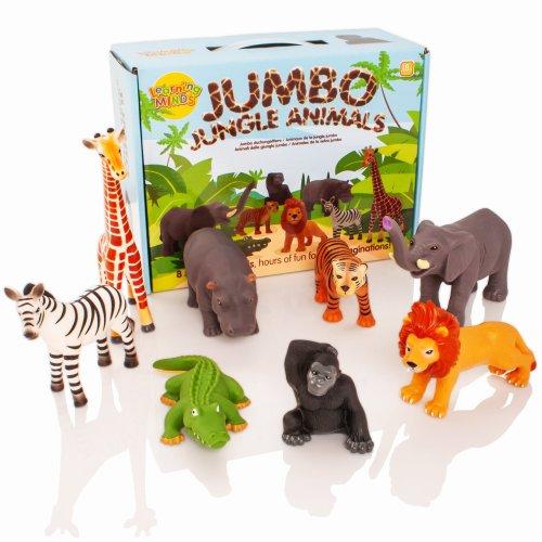 Learning Minds Set of 8 Jumbo Jungle Animal Figures - 18 Months +