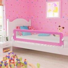 vidaXL Toddler Safety Bed Rail Pink 180x42cm Polyester Kids Nursery Rails