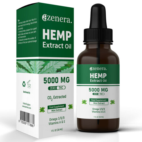 Hemp Oil 5000mg 30ml for Pain Relief, Anxiety, Good Energy, Sleep, Relax (Mint)