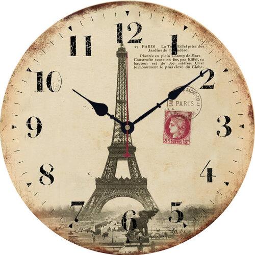 Eiffel Tower Living Room Wall Clock Wooden