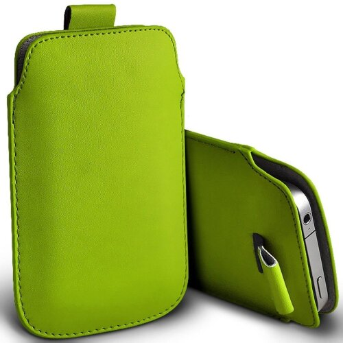 Alcatel 1c (2019) Green Pull Tab Sleeve Faux Leather Pouch Case Cover (XXXL)