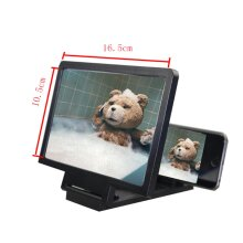 3D Screen Magnifier Grain Foldable Mobile Phone ScreenSuitable for Watching Movie Videos on All Smartphones-Black