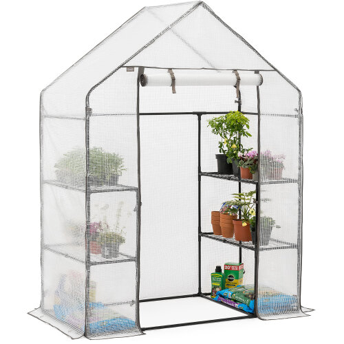 Walk In Greenhouse Garden Grow House Reinforced Cover 4 Shelves Large 6ft