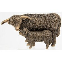 Bronze Highland Cow and Calf Ornament