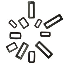 Black Rectangle Plastic Square Ring webbing loops