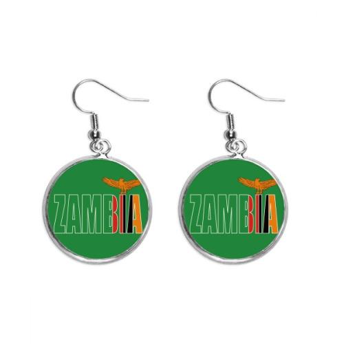 Zambia Country Flag Name Ear Dangle Silver Drop Earring Jewelry Woman