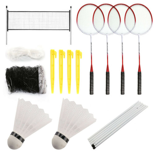PROFESSIONAL BADMINTON SET 4 PLAYER RACKET SHUTTLECOCK POLES NET
