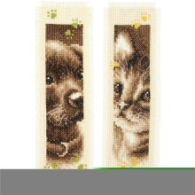 Vervaco V0155362 3 x 6 in. Cat & Dog Bookmarks On Aida Counted Cross Stitch Kit, 14 Count