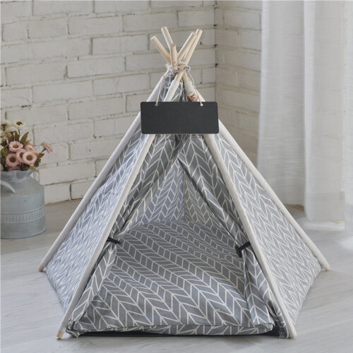 Small Medium Dog Bed Teepee House Pet Tent for Dogs & Cat Breathable Kennel Grey