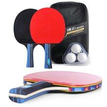 pro 2 Table Tennis Ping Pong Racket Paddle Bat+ 3 Balls Bag Set
