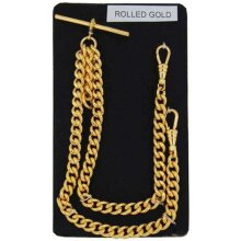 Stunning Double Albert Rolled Gold 9ct Pocket Watch Chain Heavy