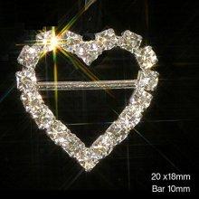 10 x Silver Heart Ribbon Slider Buckles Grade A Rhinestones Diamante Embellishment