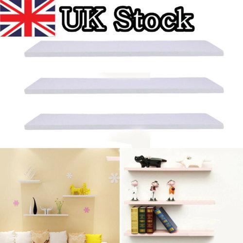 3x White Floating Wooden Wall Shelves Shelf Wall Storage Display 60cm