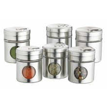 "KitchenCraft 6-Piece""Home Made"" Spice Jar Set, Stainless-Steel, Silver, 5 x 5.5 x 16 cm"