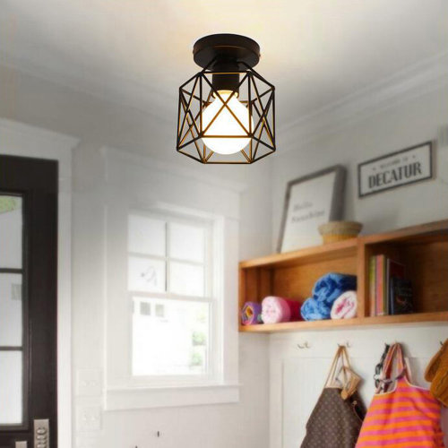 (Black) Vintage Industrial Ceiling Light Fixture Metal Flush Mount