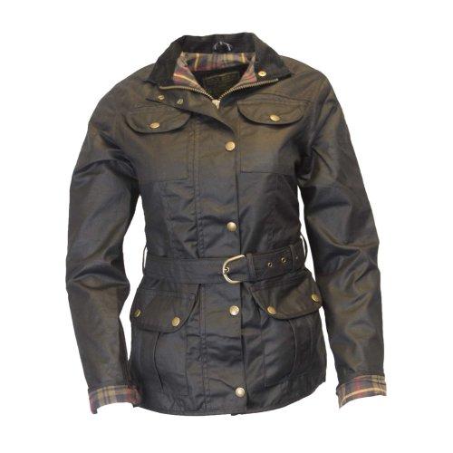 Walker & Hawkes - Ladies Belted Waxed 4 Pocket Jacket - Black