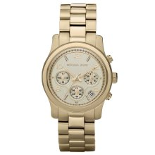 Michael Kors Runway Champagne Chronograph Designer Ladies Watch MK5055