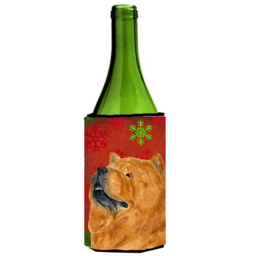 Chow Chow Red And Green Snowflakes Holiday Christmas Wine bottle sleeve - 24 oz.