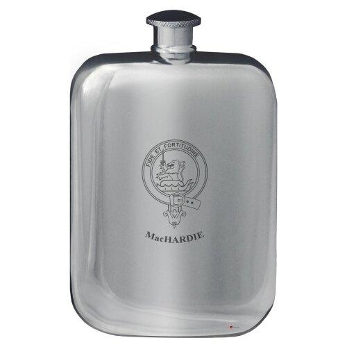 MacHardie Family Crest Design Pocket Hip Flask 6oz Rounded Polished Pewter