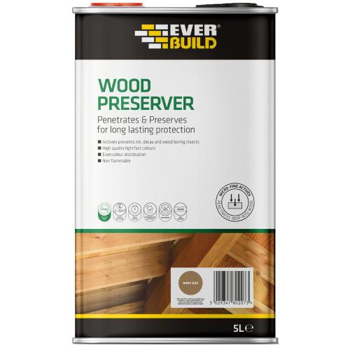 Everbuild EVBLJDO05 Wood Preserver Dark Oak 5 Litre