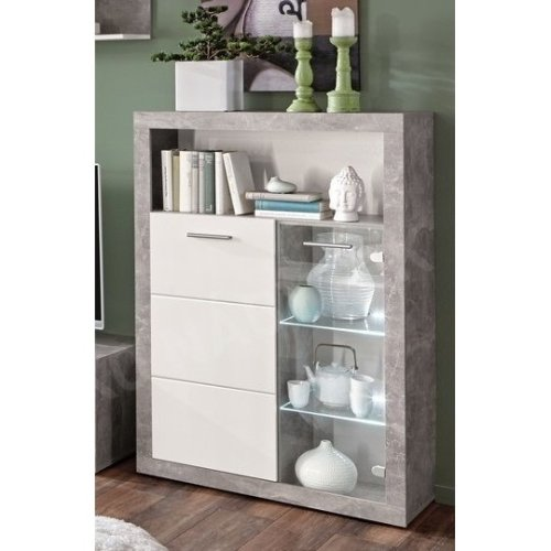 Display Cabinet Sideboard Show Unit Cupboard Storage Glass LED Light