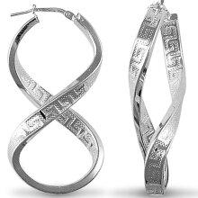 Jewelco London Rhodium Coated Sterling Silver Greek Key fig. of eight  Hoop Earrings - Ladies